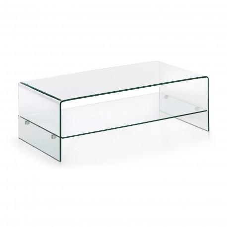 Burano tavolino rettangolare in vetro a due piani
