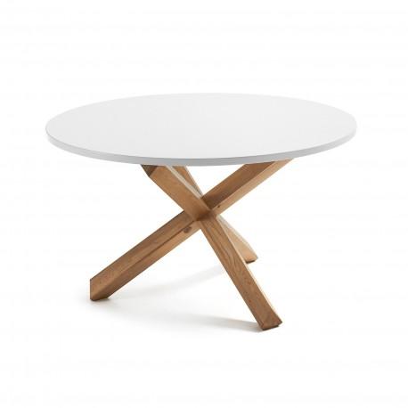 Nori tavolo rotondo bianco e legno