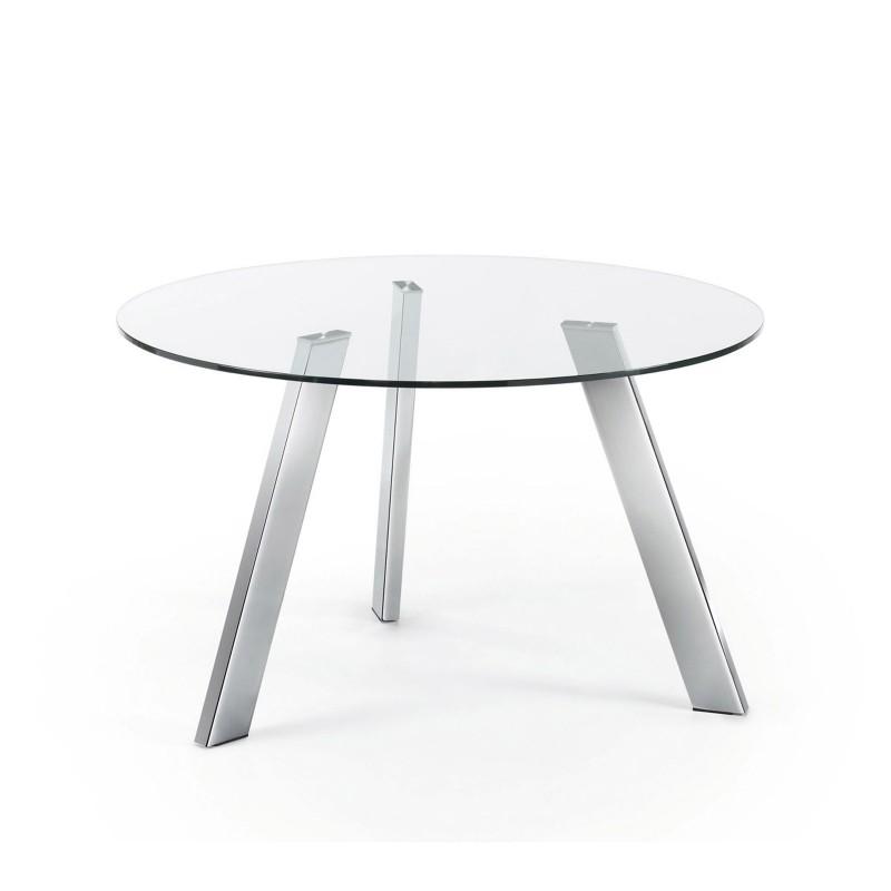 Columbia tavolo in vetro gambe cromo righetti mobili for Tavolo in vetro tondo