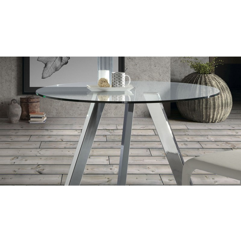 Columbia tavolo rotondo in vetro gambe cromo