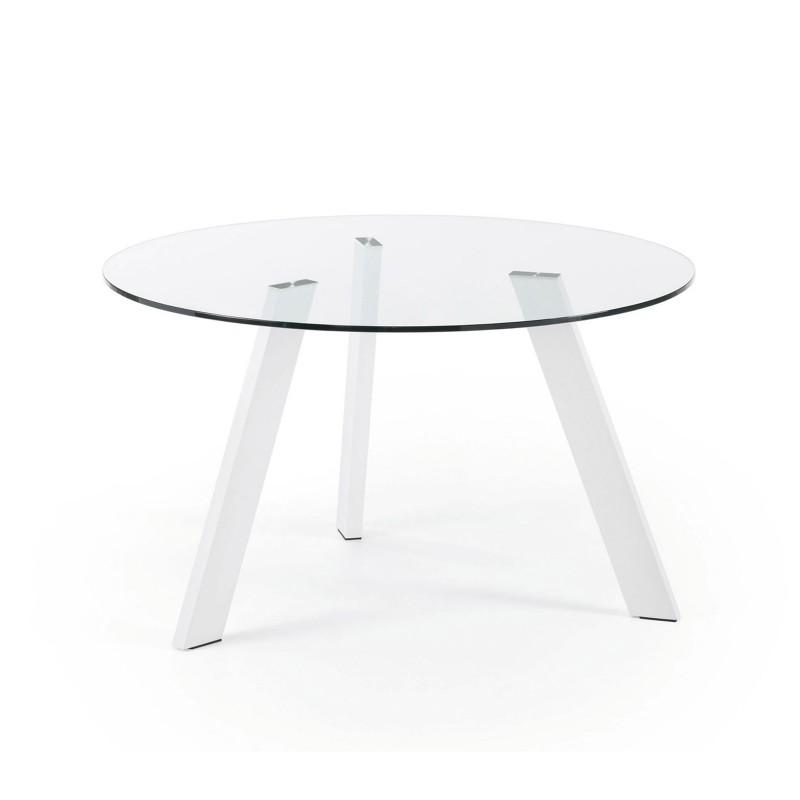 Columbia tavolo rotondo in vetro gambe bianche - Tavolo rotondo vetro diametro 120 ...