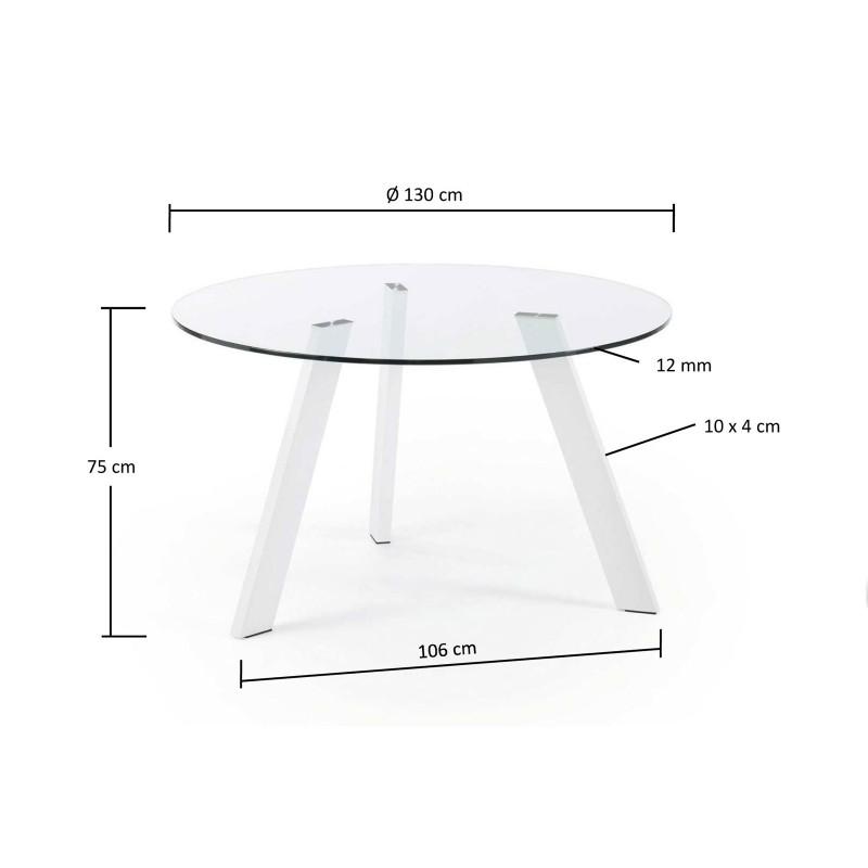 Columbia tavolo rotondo in vetro gambe bianche