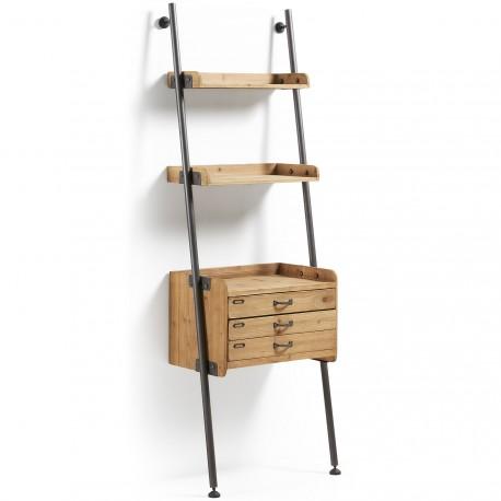 Belamo libreria con cassetti legno e ferro