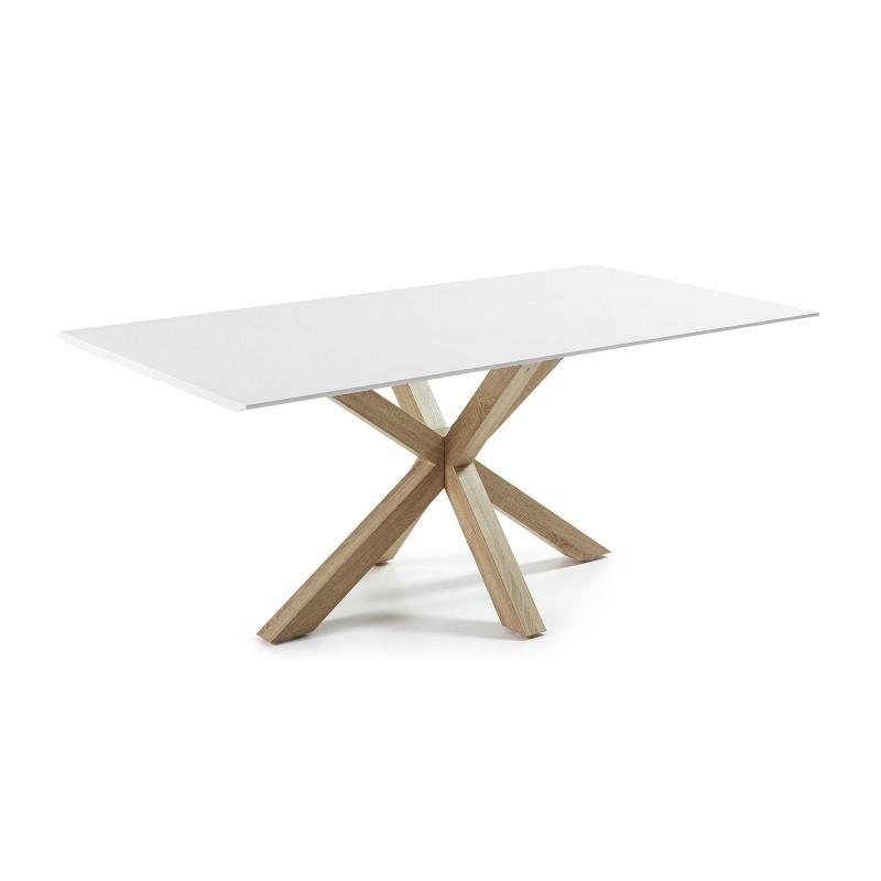 Arya tavolo rettangolare base legno piano bianco for Tavolo rettangolare bianco