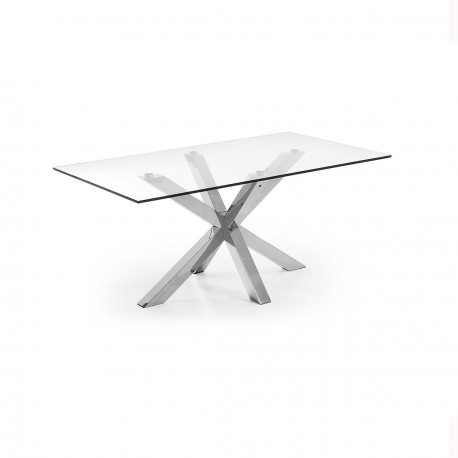 Arya tavolo rettangolare base inox