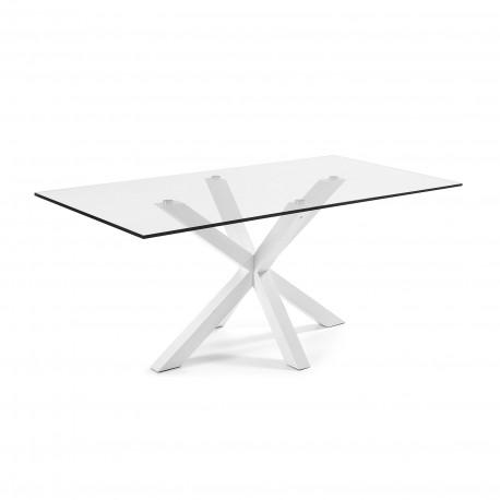 Arya tavolo rettangolare base bianca - piano vetro
