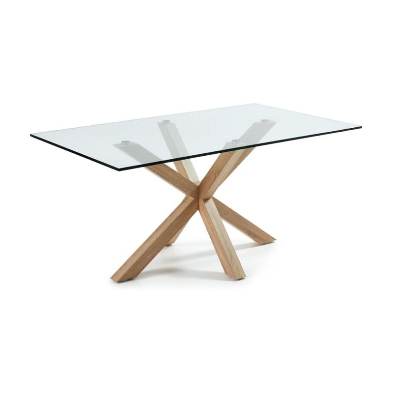 Arya tavolo rettangolare base legno piano vetro