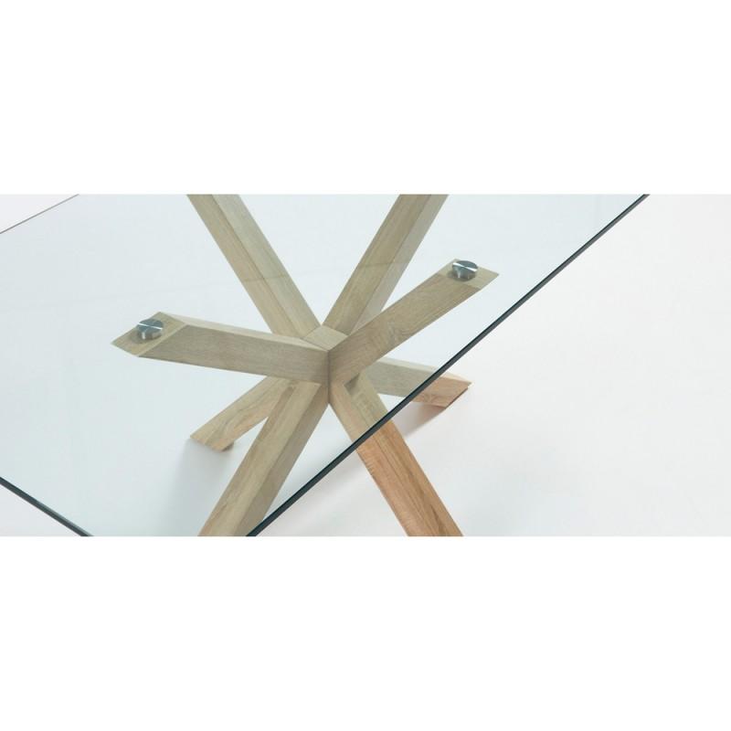 Arya tavolo rettangolare base legno piano vetro for Tavolo legno base vetro