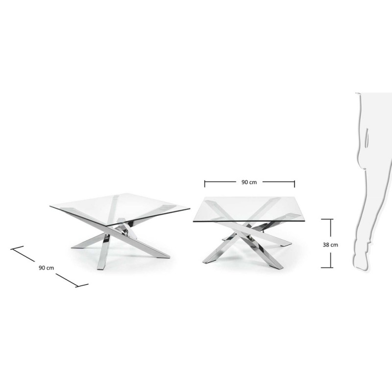 Mikado tavolino in acciaio e vetro