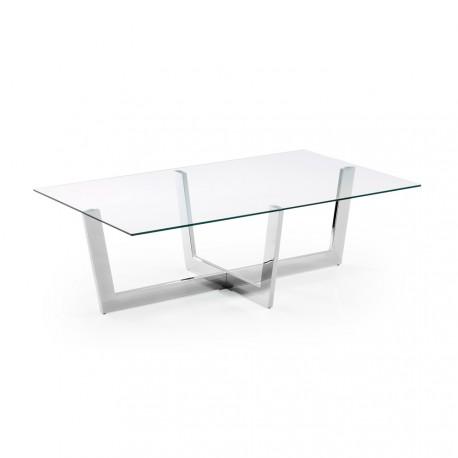 Plum tavolino in acciaio e vetro