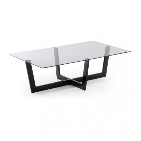 Plum tavolino metallo nero e vetro fumè