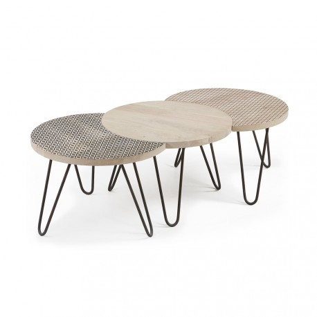 Hoss set 3 tavolini metallo e legno