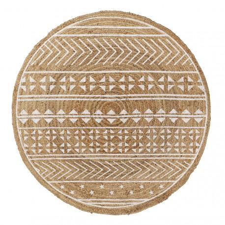 Cecile tappeto tondo juta naturale e bianco
