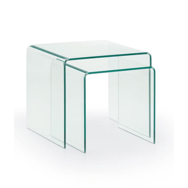 Burano set tavolini in vetro for Tavolini vetro